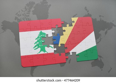 puzzle with the national flag of lebanon and seychelles on a world map background. 3D illustration