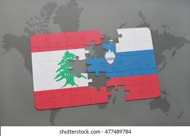 puzzle with the national flag of lebanon and slovenia on a world map background. 3D illustration