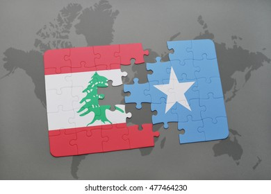 puzzle with the national flag of lebanon and somalia on a world map background. 3D illustration