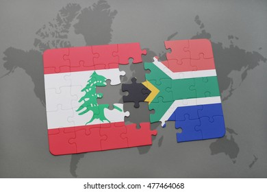 puzzle with the national flag of lebanon and south africa on a world map background. 3D illustration