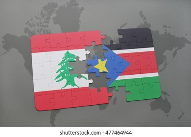 puzzle with the national flag of lebanon and south sudan on a world map background. 3D illustration