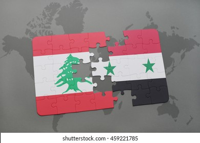puzzle with the national flag of lebanon and syria on a world map background. 3D illustration