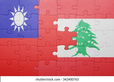 puzzle with the national flag of lebanon and taiwan . concept