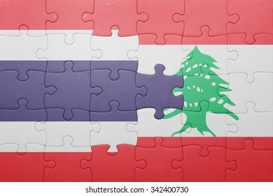 puzzle with the national flag of lebanon and thailand . concept