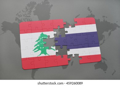 puzzle with the national flag of lebanon and thailand on a world map background. 3D illustration