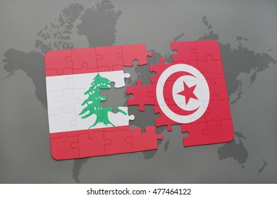 puzzle with the national flag of lebanon and tunisia on a world map background. 3D illustration