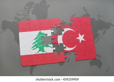 puzzle with the national flag of lebanon and turkey on a world map background. 3D illustration