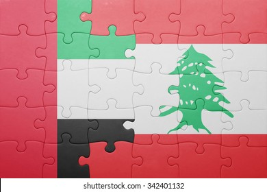 puzzle with the national flag of lebanon and united arab emirates . concept