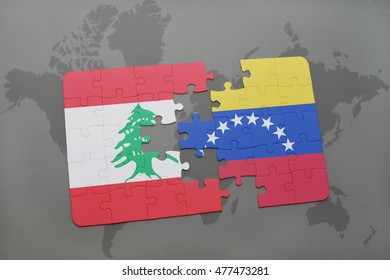 puzzle with the national flag of lebanon and venezuela on a world map background. 3D illustration