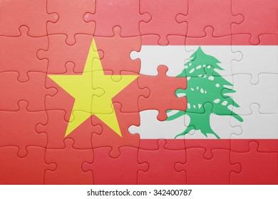 puzzle with the national flag of lebanon and vietnam . concept