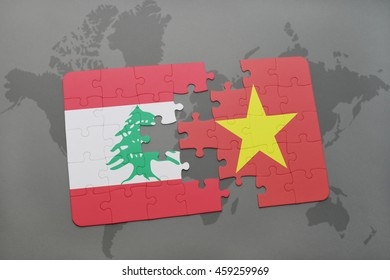 puzzle with the national flag of lebanon and vietnam on a world map background. 3D illustration