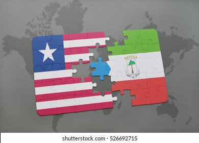 puzzle with the national flag of liberia and equatorial guinea on a world map background. 3D illustration