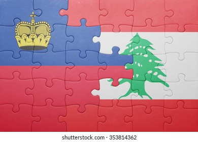 puzzle with the national flag of liechtenstein and lebanon . concept