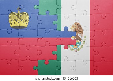 puzzle with the national flag of liechtenstein and mexico . concept