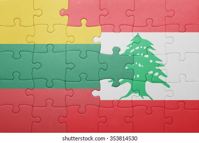 puzzle with the national flag of lithuania and lebanon . concept