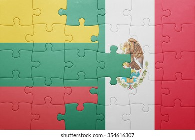 puzzle with the national flag of lithuania and mexico . concept