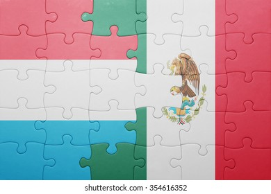 puzzle with the national flag of luxembourg and mexico . concept