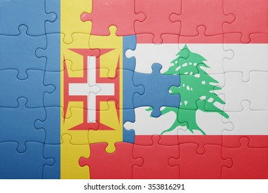 puzzle with the national flag of madeira and lebanon . concept