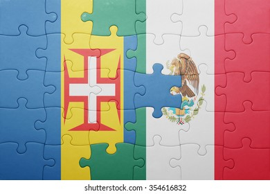 puzzle with the national flag of madeira and mexico . concept