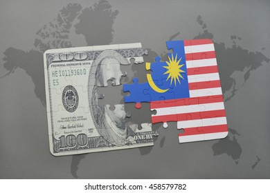 puzzle with the national flag of malaysia and dollar banknote on a world map background. 3D illustration