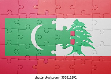 puzzle with the national flag of maldives and lebanon . concept