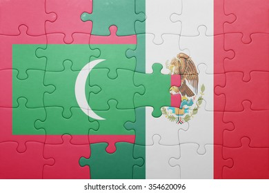puzzle with the national flag of maldives and mexico . concept