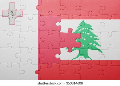 puzzle with the national flag of malta and lebanon . concept