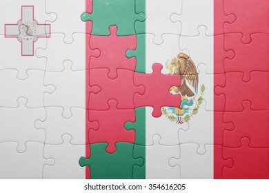 puzzle with the national flag of malta and mexico . concept