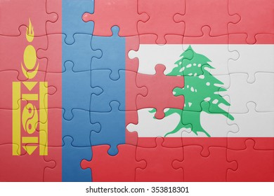 puzzle with the national flag of mongolia and lebanon . concept