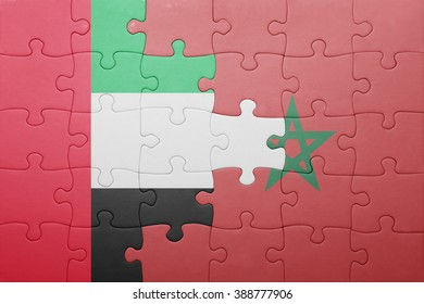 puzzle with the national flag of morocco and united arab emirates . concept