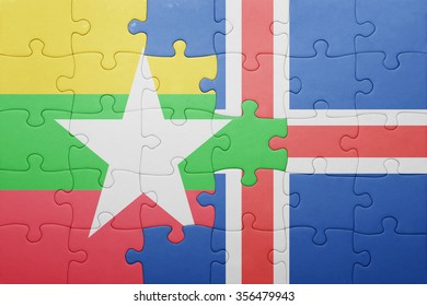 puzzle with the national flag of myanmar and iceland . concept