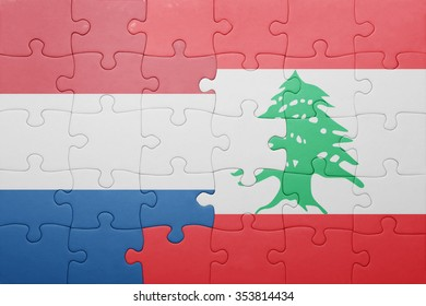 puzzle with the national flag of netherlands and lebanon . concept