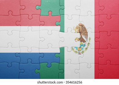 puzzle with the national flag of netherlands and mexico . concept