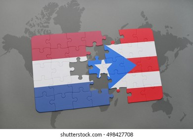 puzzle with the national flag of netherlands and puerto rico on a world map background. 3D illustration