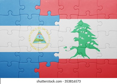 puzzle with the national flag of nicaragua and lebanon . concept