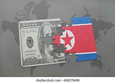 puzzle with the national flag of north korea and dollar banknote on a world map background. 3D illustration