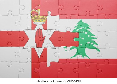 puzzle with the national flag of northern ireland and lebanon . concept