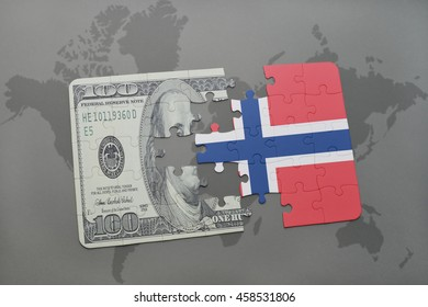 puzzle with the national flag of norway and dollar banknote on a world map background. 3D illustration