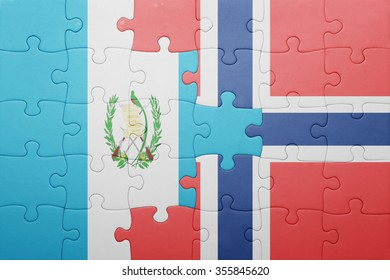 puzzle with the national flag of norway and guatemala . concept