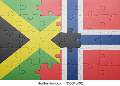 puzzle with the national flag of norway and  jamaica. concept