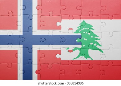 puzzle with the national flag of norway and lebanon . concept