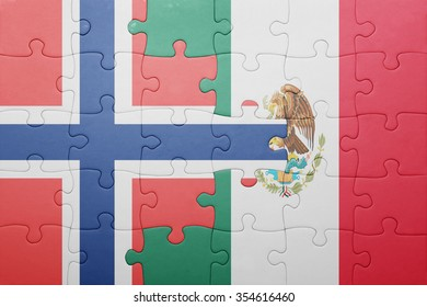 puzzle with the national flag of norway and mexico . concept