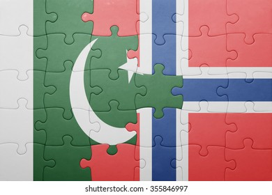 puzzle with the national flag of norway and pakistan . concept