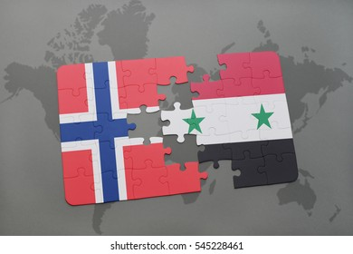 puzzle with the national flag of norway and syria on a world map background. 3D illustration