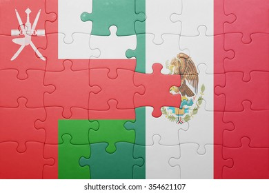 puzzle with the national flag of oman and mexico . concept