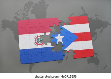puzzle with the national flag of paraguay and puerto rico on a world map background. 3D illustration