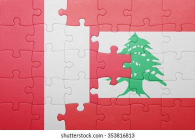 puzzle with the national flag of peru and lebanon . concept
