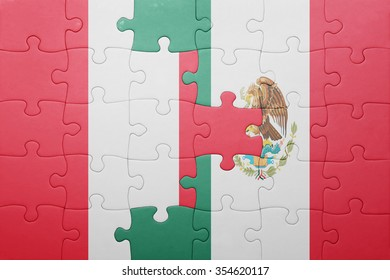 puzzle with the national flag of peru and mexico . concept