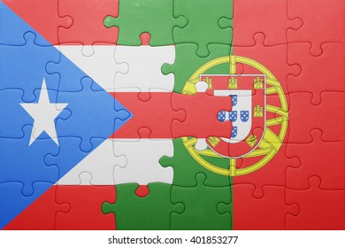 puzzle with the national flag of portugal and puerto rico . concept