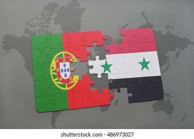 puzzle with the national flag of portugal and syria on a world map background. 3D illustration